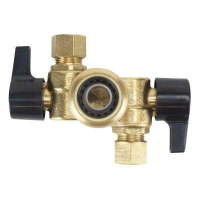 1/2 in. Brass Push-To-Connect x 3/8 in. OD Compression Dual Opposed Outlet Dual Shut-Off Quarter-Turn Stop Valve