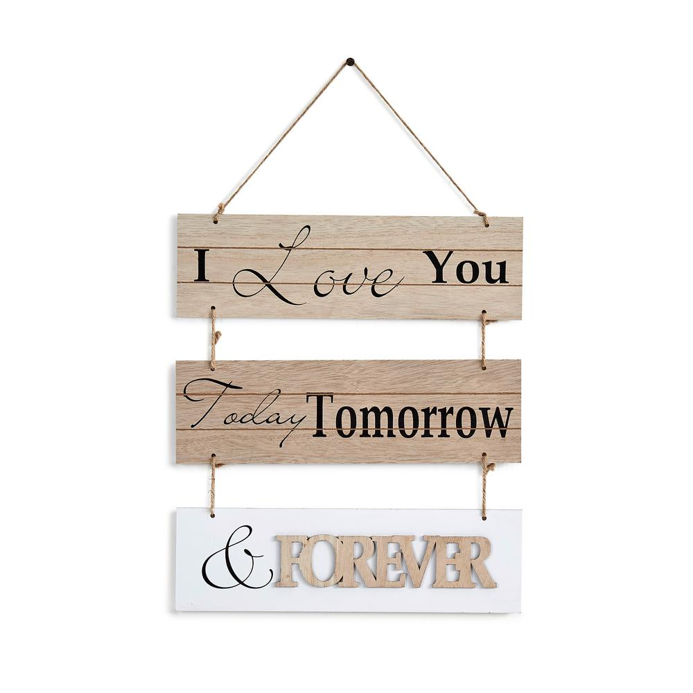 Inspirational I Love You Today, Tomorrow, and Forever Sectioned Wooden Wall