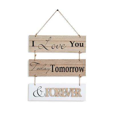 Inspirational I Love You Today, Tomorrow, and Forever Sectioned Wooden Wall Plaque Sign