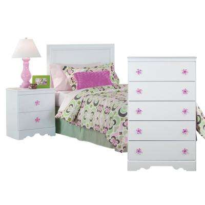 Three Piece White Bedroom set with Pink Decorative Pulls including Twin  Headboard, Five Drawer Chest, and Night Stand