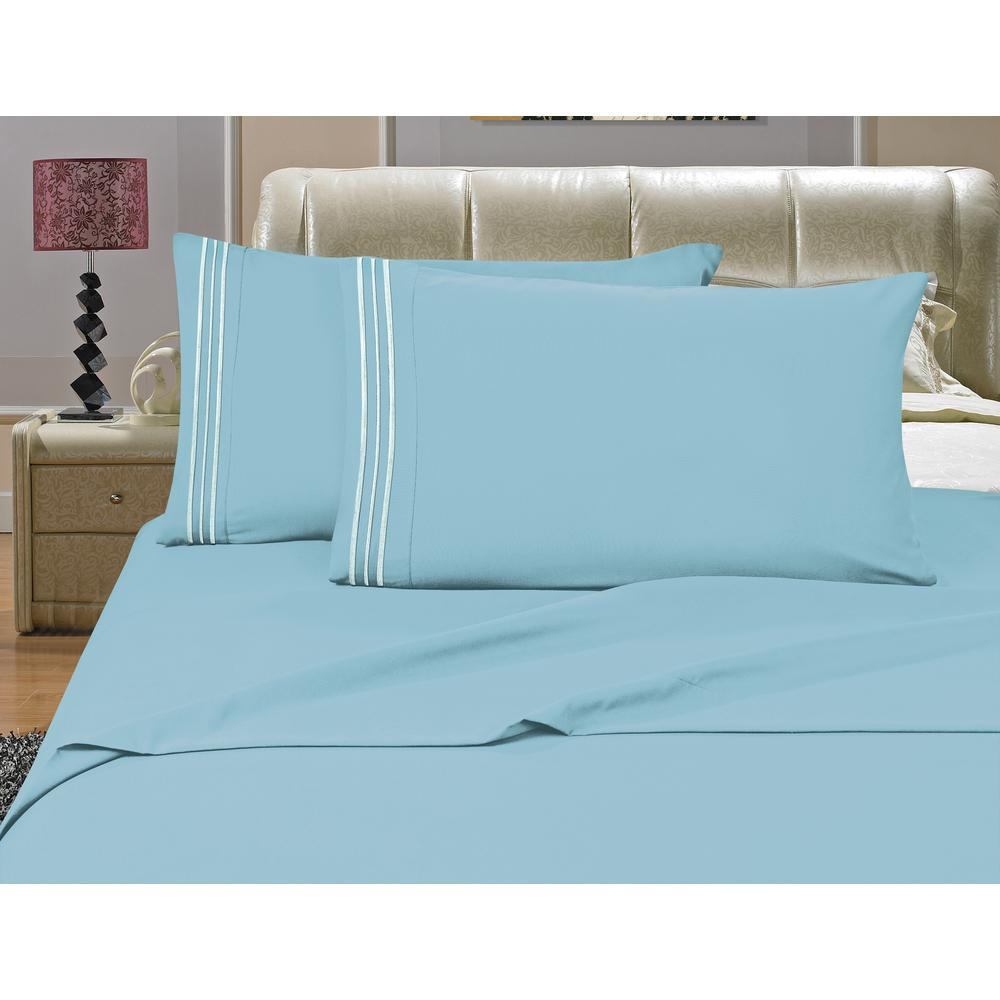 1500 Series 4-Piece Aqua Triple Marrow Embroidered Pillowcases Microfiber Queen
