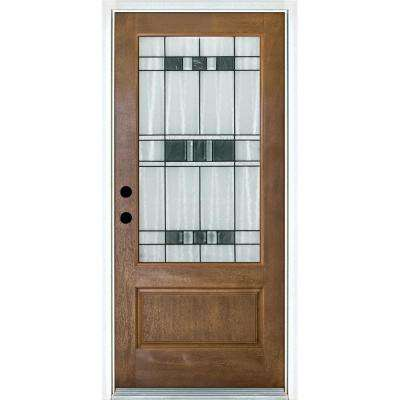 36 in. x 80 in. Savana Medium Oak Right-Hand Inswing 3/4 Lite Decorative Fiberglass Prehung Front Door