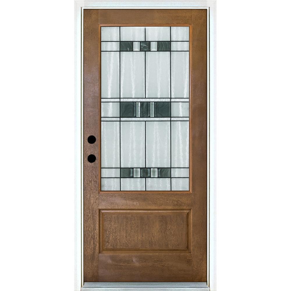 36 in. x 80 in. Savana Medium Oak Right-Hand Inswing 3/4 Lite Decorative Fiberglass Prehung Front Door