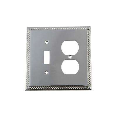 Rope Switch Plate with Toggle and Outlet in Bright Chrome