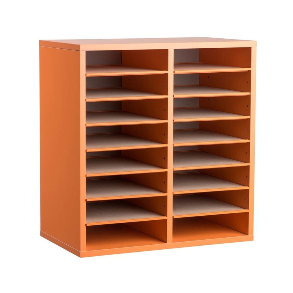 Wood Adjustable 16 Compartment Literature Organizer, Orange