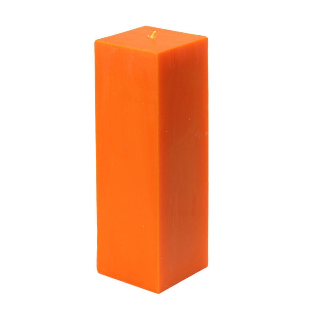 Zest Candle 3 in. x 9 in. Orange Square Pillar Candle Bulk (12-Box)