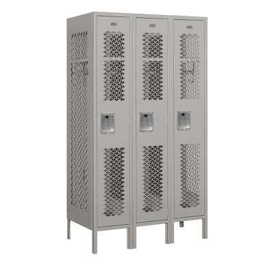 71000 Series 3 Compartments Single Tier 36 In. W x 66 In. H x 18 In. D Vented Metal Locker Assembled in Gray