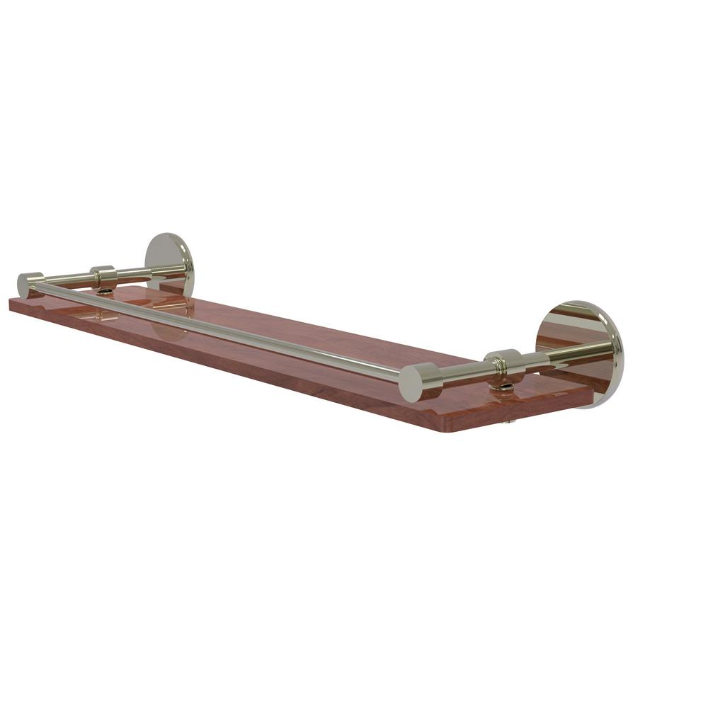 Allied Brass Prestige Skyline Collection 22 in. Solid IPE Ironwood Shelf with Gallery Rail in Polished Nickel