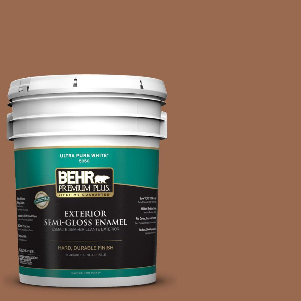 BEHR Premium Plus 5-gal. #PMD-88 Sorrel Brown Semi-Gloss Enamel Exterior Paint