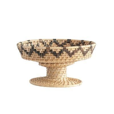 Beige Decorative Handwoven Rattan Bowl on Pedestal