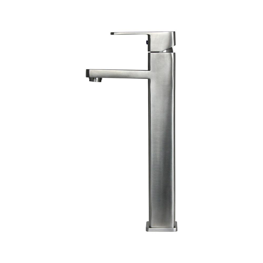 BOANN 13.8 in. Single Hole Single-Handle Vessel Bathroom Faucet in Stainless Steel
