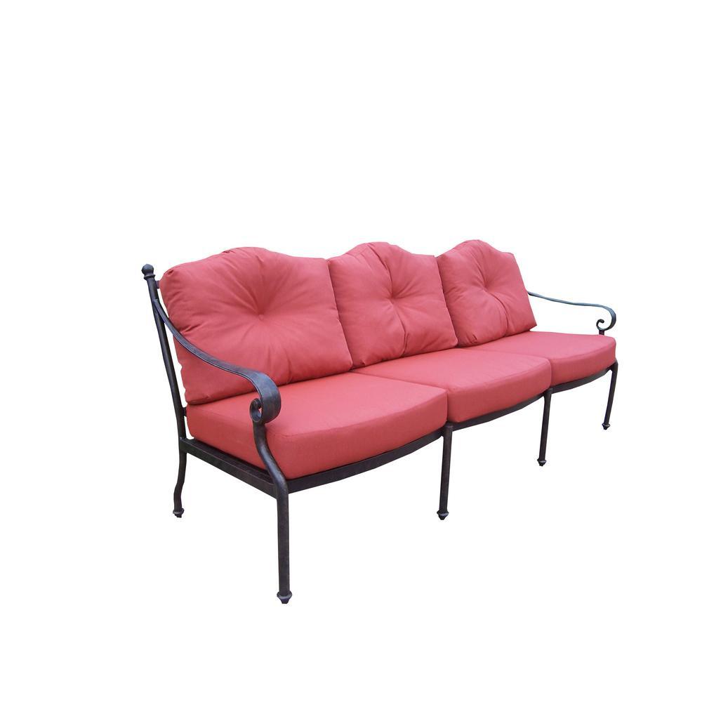 Berkley Aluminum Outdoor Sofa with Red Cushions