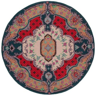 Safavieh Bellagio Ivory Pink 5 Ft X 5 Ft Round Area Rug Blg535a 5r The Home Depot