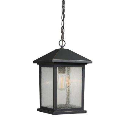 Malone 1-Light Oil-Rubbed Bronze Outdoor Hanging Lantern