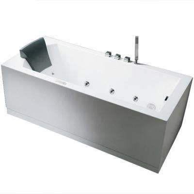 70.5 in. Acrylic Right Drain Flatbottom Whirlpool Bathtub in White