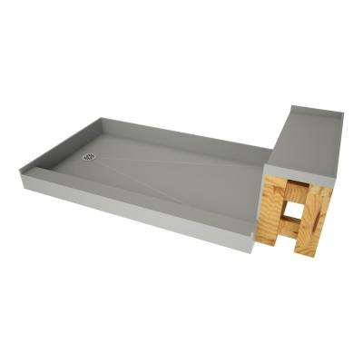 37 in. x 72 in. Single Threshold Shower Base in Gray and Bench Kit with Left Drain