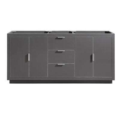Austen 72 in. W x 21.5 in. D x 34 in. H Bath Vanity Cabinet Only in Twilight Gray with Silver Trim