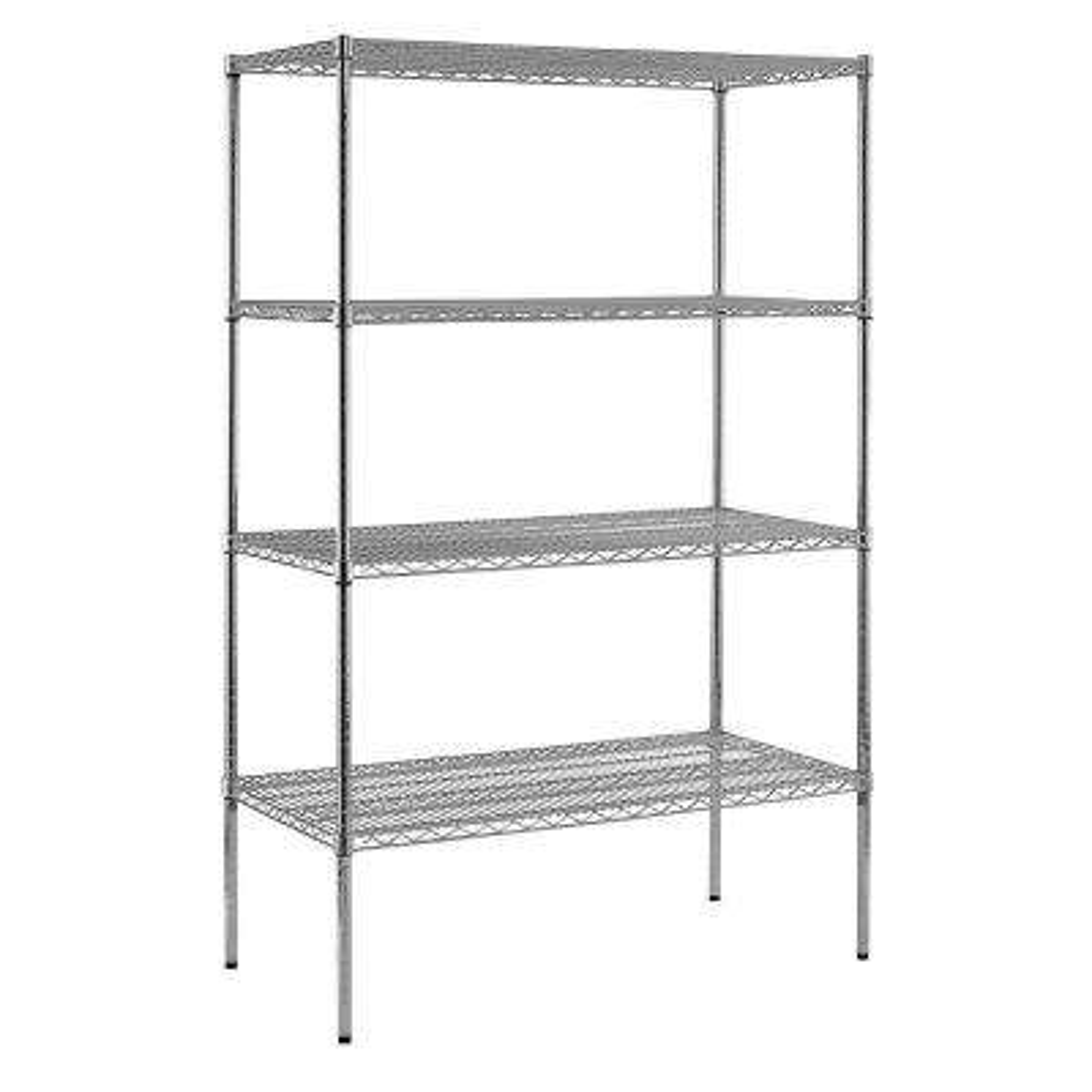 86 in  H x 48 in  W x 24 in  D 4-Shelf Chrome Steel Shelving Unit