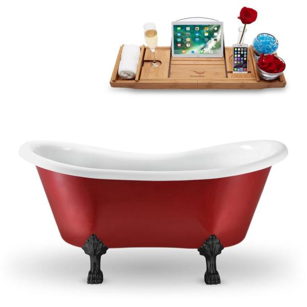 62.2 in. Acrylic Fiberglass Clawfoot Non-Whirlpool Bathtub in Red