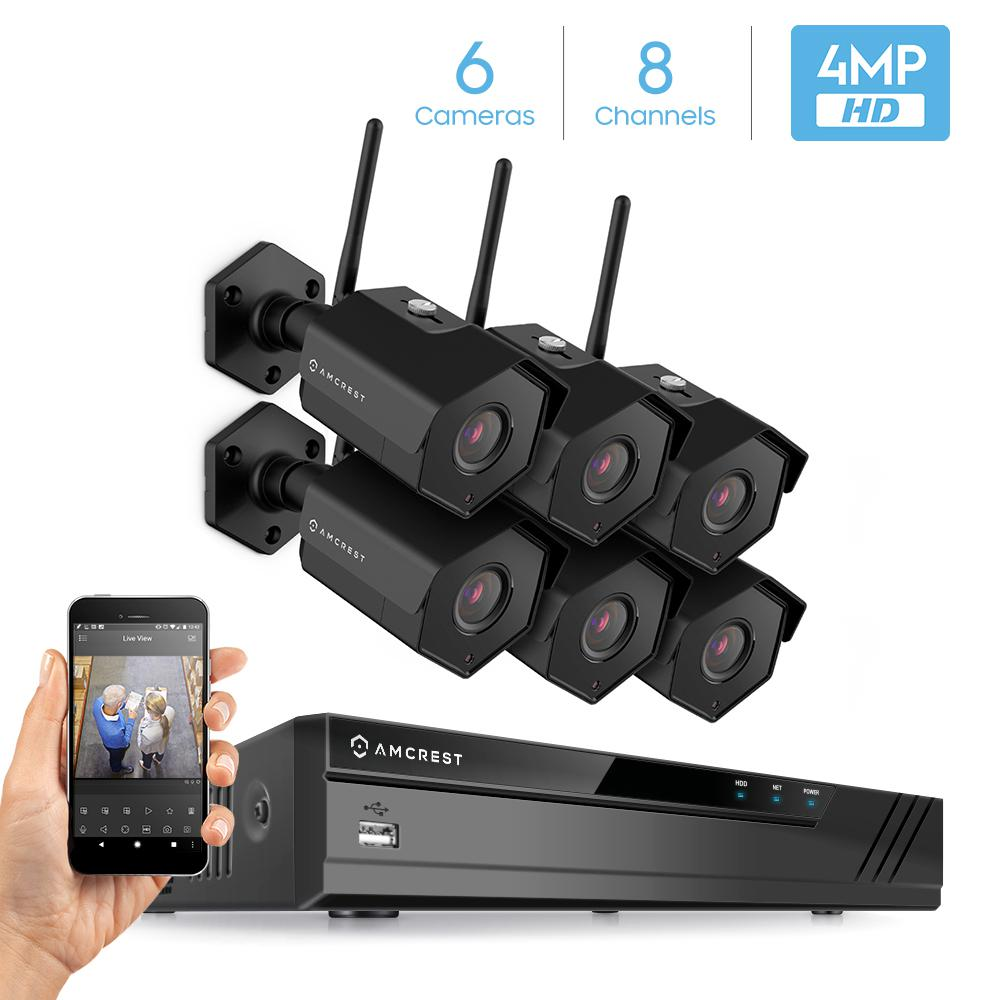 Amcrest 8CH 4MP Security Camera System, w/ 4K NVR, (4) x 4-Megapixel IP67 Weatherproof Bullet WiFi IP Cameras, 3.6mm Angle Lens, Hard Drive Not Included, 98ft Night Vision (Black)