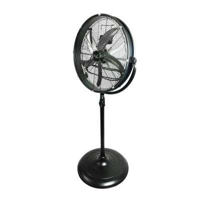 20 in. Adjustable Height Pedestal Industrial Drum Fan With 360 Degree Tilt