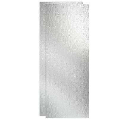 48 in. Sliding Shower Door Glass Panels in Rain (1-Pair)