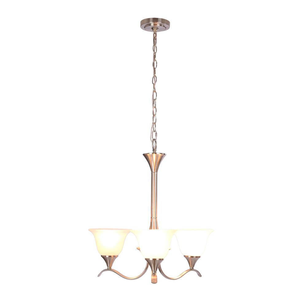 Santa Rita 3 Light Brushed Nickel Chandelier With Glass Shades