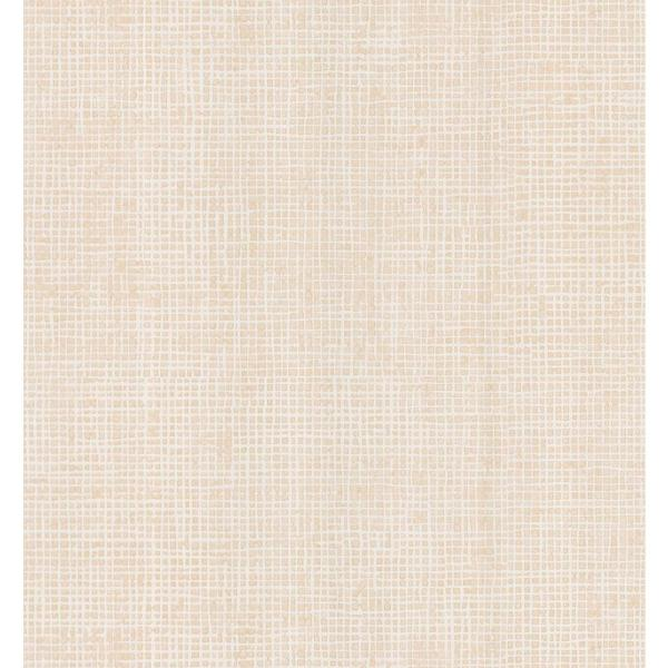Brewster Simple Space Camel Woven Effect Wallpaper Sample 141-62112SAM