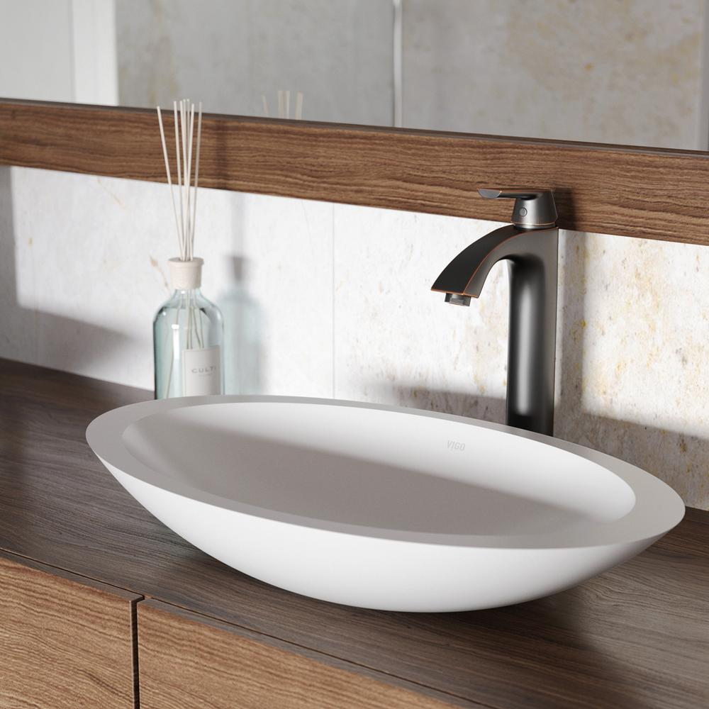 Vigo Wisteria Matte Stone Vessel Sink In White With Linus Vessel