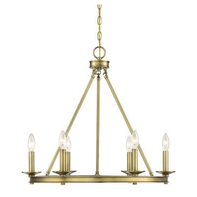 6-Light Warm Brass Chandelier