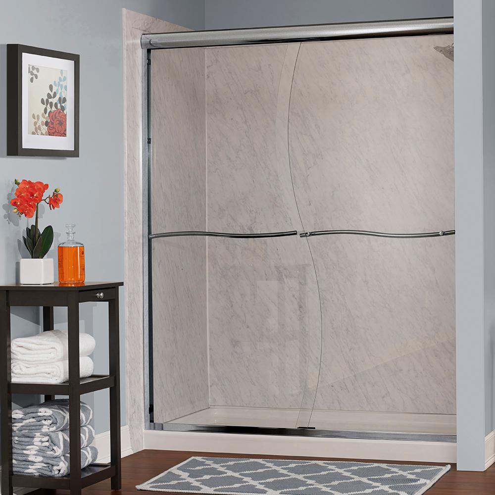 Foremost Cove 58 in. W x 72 in. H Frameless Sliding Shower Door in Brushed Nickel