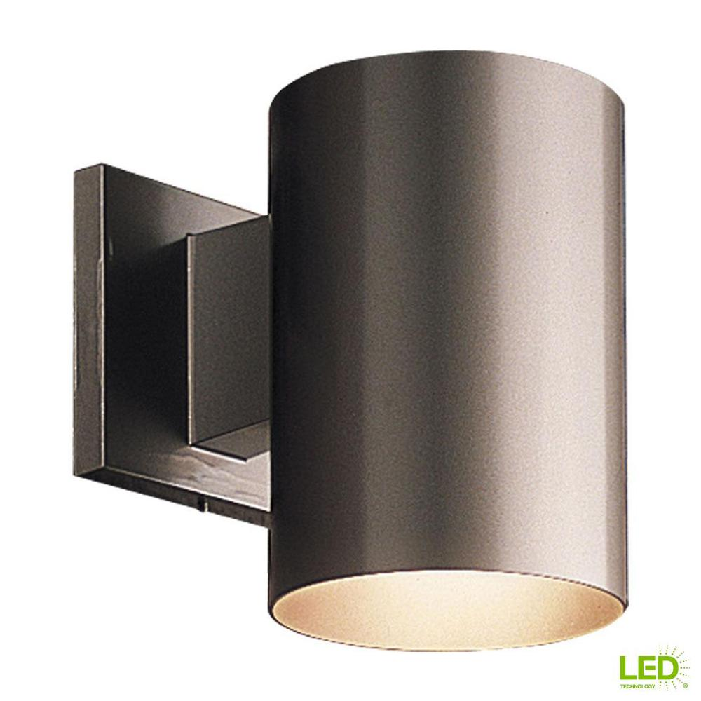 led outdoor wall lights recessed 1light antique bronze integrated led outdoor wall mount cylinder light mounted lighting