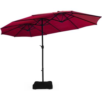 15 ft. Double Sided Outdoor Market Patio Umbrella in Burgundy