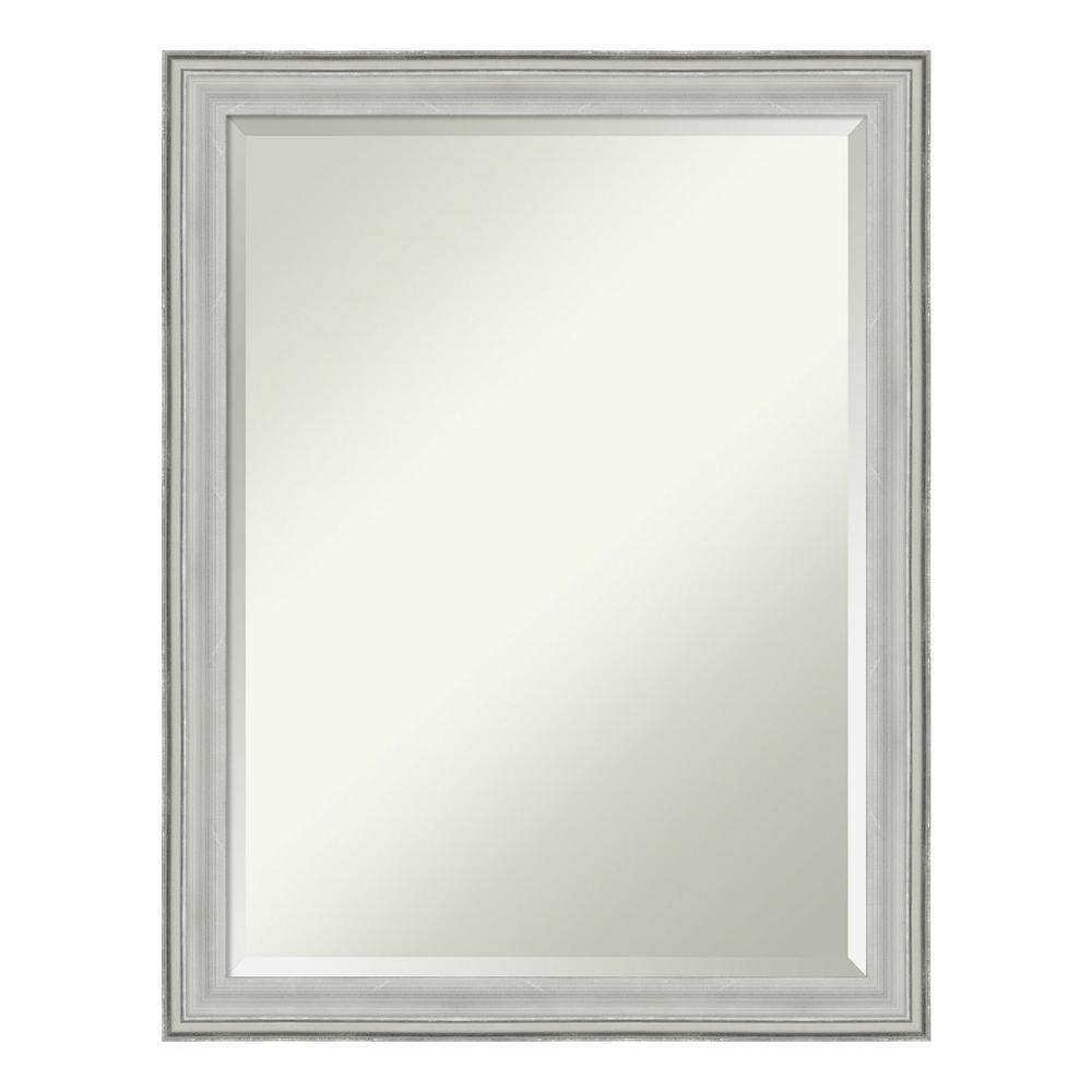 Bel 21 in. W x 27 in. H Framed Rectangular Beveled Edge Bathroom Vanity Mirror in Silver Pewter