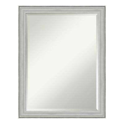Bel Volto Silver Wood 21 in. x 27 in. Contemporary Bathroom Vanity Mirror