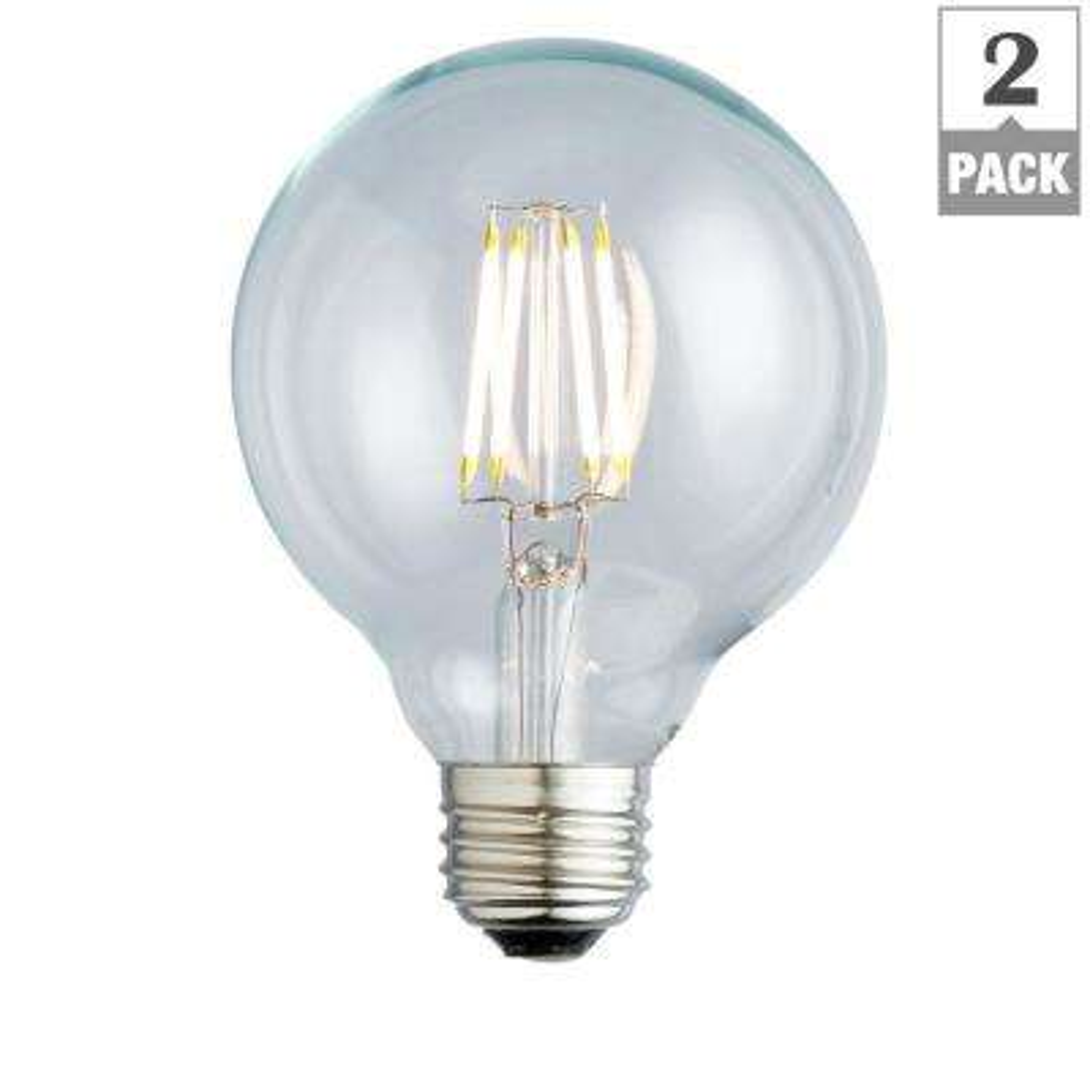 40W Equivalent Warm White G25 Clear Lens Nostalgic Globe Dimmable LED Light Bulb (2-Pack)