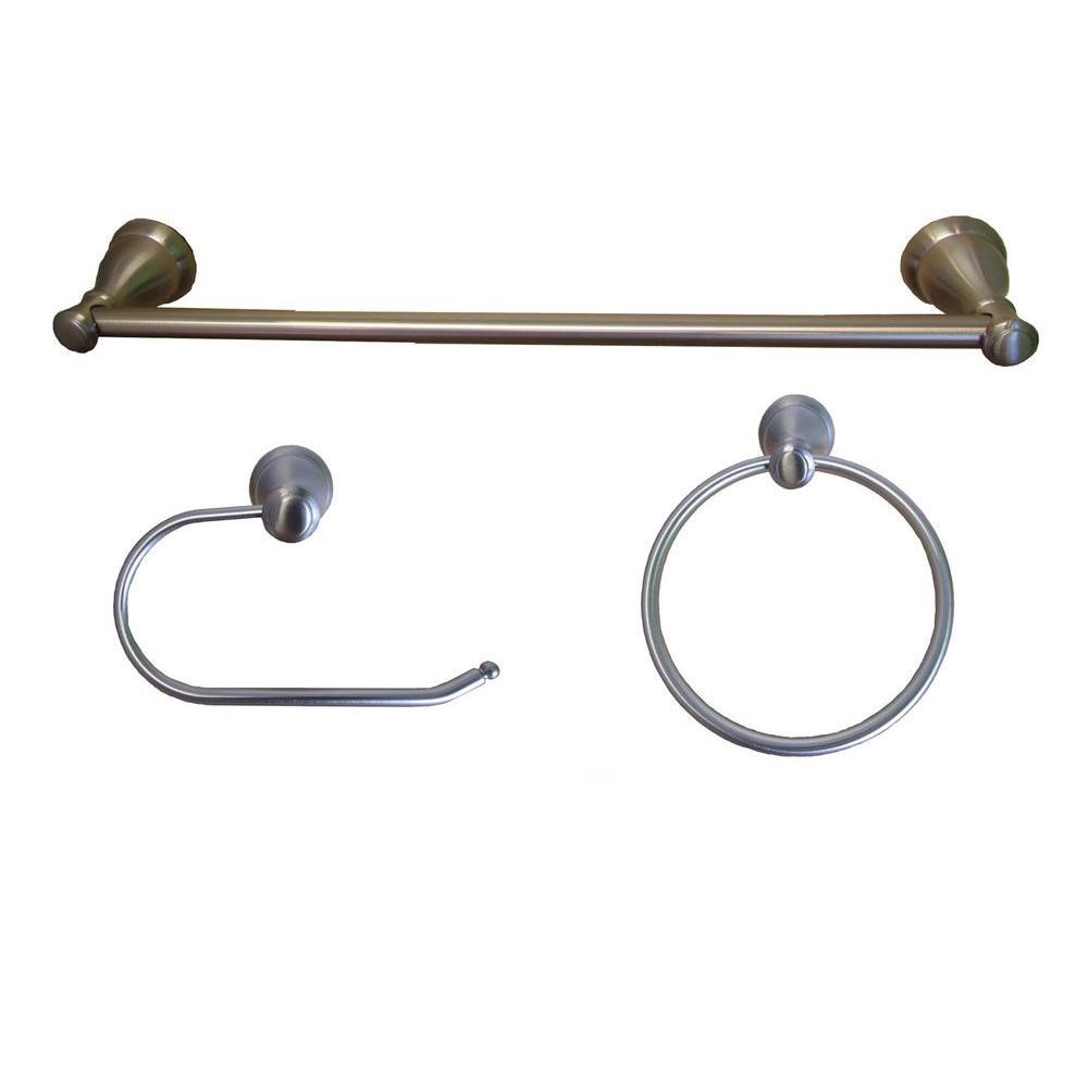 Arista Castilla Collection 3 Piece Bathroom Accessory Kit In Satin Nickel Ba5902 3pc Set Sn