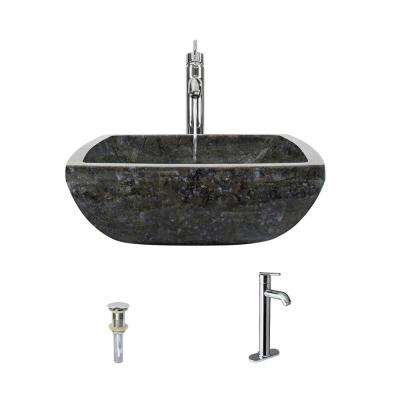 Stone Vessel Sink in Butterfly Blue Granite with 718 Faucet and Pop-Up Drain in Chrome