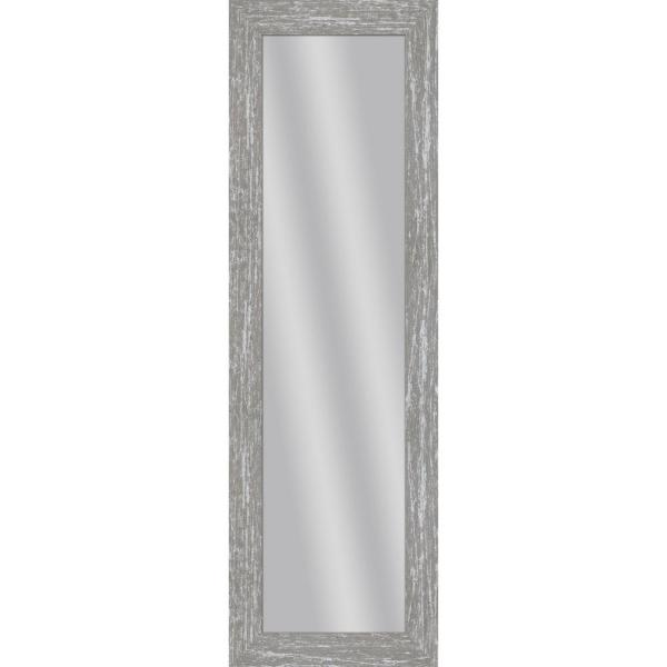 Large Rectangle Gray Wash Art Deco Mirror (53.5 in. H x 17.5 in. W)