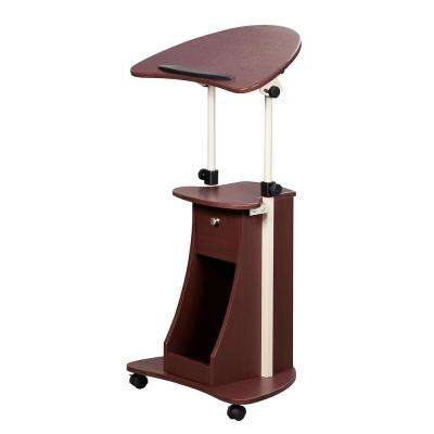 Chocolate Sit-to-Stand Rolling Adjustable Laptop Cart with Storage