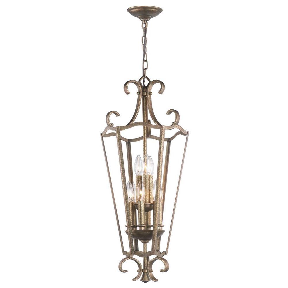 9-Light Distressed Brass Pendant