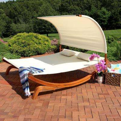 2-Person Natural Wood Outdoor Chaise Lounge with Canopy