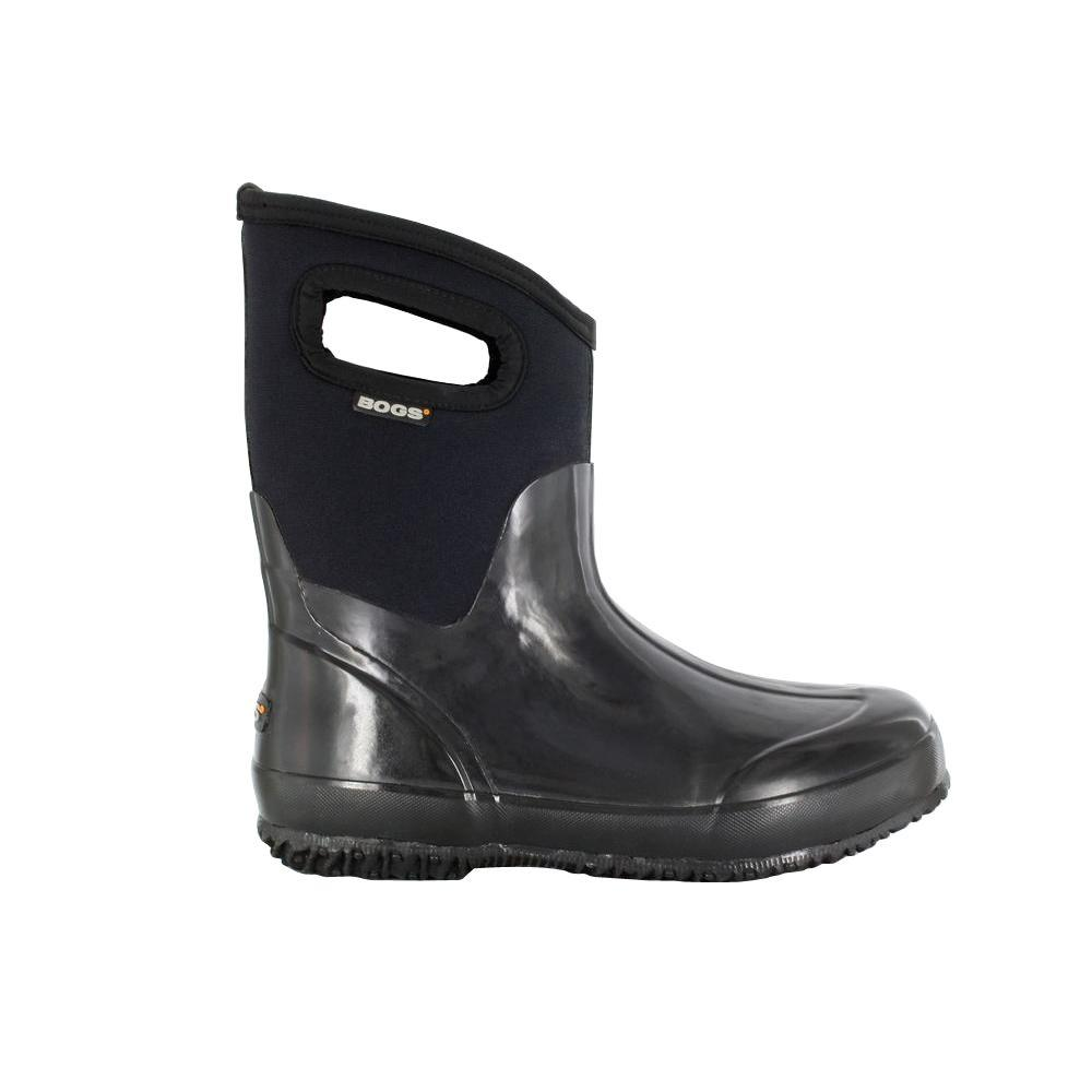 BOGS Classic Mid Women 9 in. Size 12 Glossy Black Rubber with Neoprene Handle Waterproof Boot