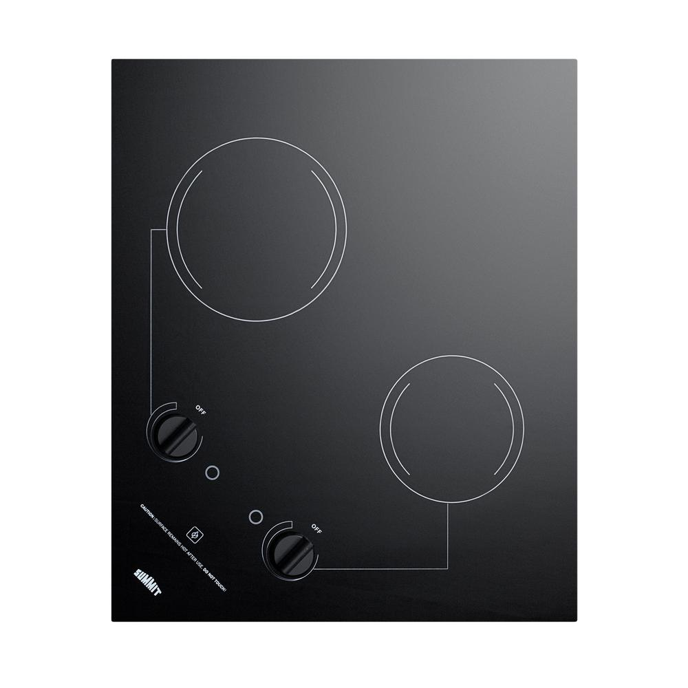 Summit Appliance 21 in. Radiant Electric Cooktop in Black with 2 Elements