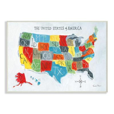 "10 in. x 15 in. ""Colorful World Map of USA Kids Nursery Painting"" by Farida Zaman Wood Wall Art"