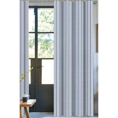 Bryson Stripe Designer Organic Cotton Drapery in Blue - 50 in. x 96 in.