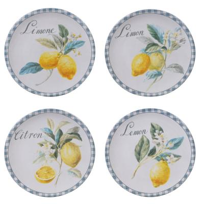 Citron 4-Piece Patterned Multi-Colored Earthenware 9 in. Salad Plate Set (Service for 4)