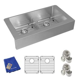 Crosstown Farmhouse/Apron-Front Stainless Steel 36 in. Double Bowl Kitchen Sink with Bottom Grids and Drains