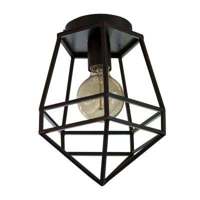 Doyle Geometric 8 in. 1-Light Black Flush Mount