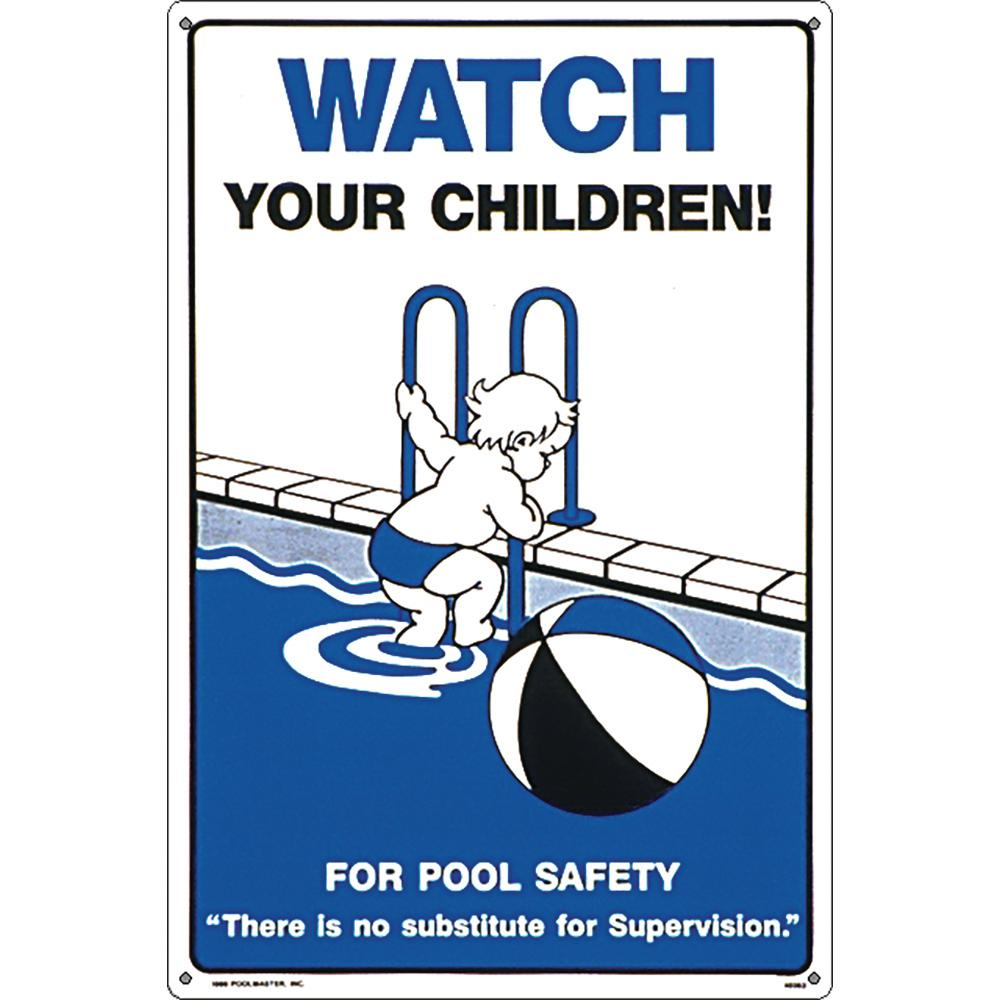 Poolmaster Residential or Commercial Swimming Pool Signs, Watch Your  Children